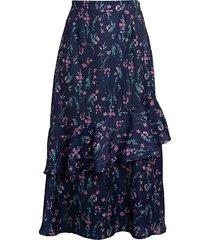 ava & aiden women's asymmetrical ruffle skirt - blue floral - size l