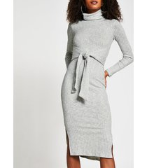 river island womens grey long sleeve tie waist midi jumper dress