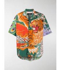 dsquared2 printed bowling shirt
