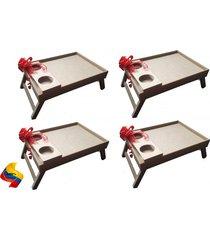 cuatro (4) mesa desayuno para cama  40x28 cm mediana madera  color natural crudo