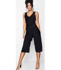 basic ribbed culotte jumpsuit, black