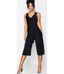 basic geribbelde culotte jumpsuit, zwart