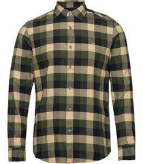 brushed twill check shirt skjorta casual grön calvin klein
