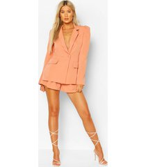 tall woven tailored puff shoulder blazer, blush