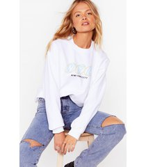 womens party in nyc oversized graphic sweatshirt - white