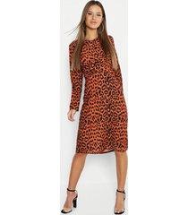 petite woven print plunge knot front dress, tan