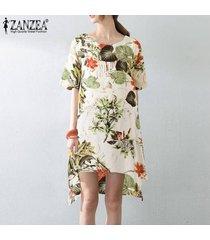 zanzea vestido de fiesta de playa con estampado floral vintage boho de una línea de flare para mujer -amarillo
