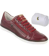 kit sapatênis couro bmbrasil + meia lupo masculino - masculino