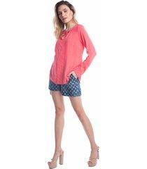 camisa manga longa ralm abotoamento rosa - kanui