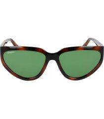 salvatore ferragamo 60mm modified cat eye sunglasses in tortoise/green at nordstrom