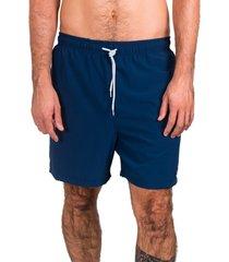 short de banho kevingston link marinho liso elastic com cadarço e bolso traseiro