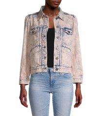 joie women's button-front denim jacket - melon - size xxs