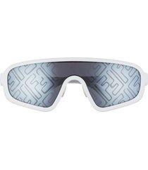 women's fendi 147mm logo lens shield sunglasses - white/ grey mirror gradient
