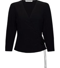 britt wrap blouse 10864 blouse lange mouwen zwart samsøe samsøe
