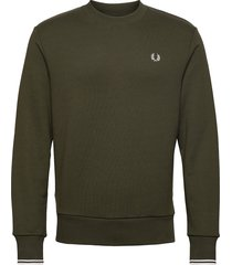 crew neck sweatshirt sweat-shirt tröja grön fred perry