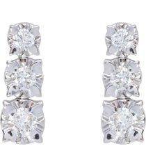 orecchini pendenti in oro bianco con tre diamanti 0,38ct per donna