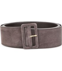 agnona rectangle-buckle belt - brown
