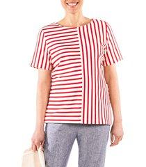 women's loyal hana ginger stripe maternity/nursing shirt, size x-small - red