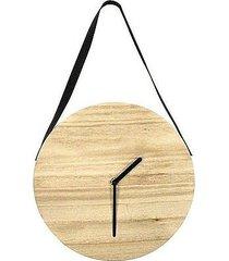 zegar drewniany wiszący na pasku woody