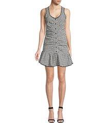sleeveless drop waist check dress
