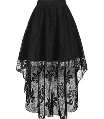 pure color dip hem pull on lace skirt