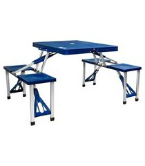 mesa dobrável camping kala 103900 4 banquetas alumínio 30 kg azul