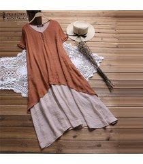 zanzea vestido de manga corta para mujer vestido de camisa suelta de doble capa vestido a media pierna -naranja