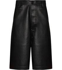 rick owens drkshdw wide leg faux leather shorts - black