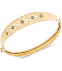 tricolor cutout flower bangle bracelet in 14k gold, white gold & rose gold