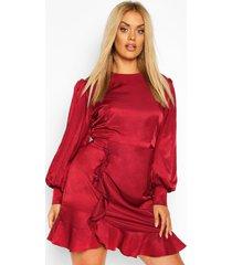 plus oversized puff sleeve ruffle skater dress, wine