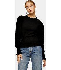 black smock detail knitted sweater - black