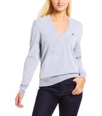 lacoste classic cotton boyfriend-fit long-sleeve sweater