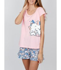 pyjama's / nachthemden admas lazy marie disney t-shirt pyjama shorts