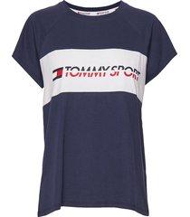 blocked tee logo t-shirts & tops short-sleeved blå tommy sport