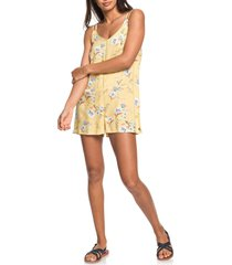women's roxy blissing me floral romper, size large - yellow