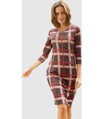 jersey jurk paola donkerbruin::steenrood