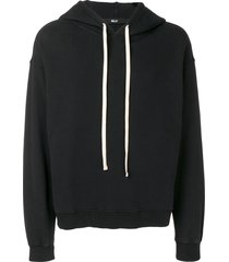 billy los angeles contrasting drawstring hoodie - black
