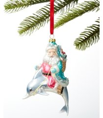 holiday lane at the beach santa riding a dolphin ornament, created for macy's