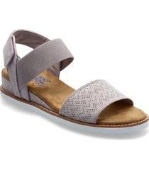 womens bobs - desert kiss shoes summer shoes flat sandals grå skechers