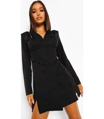blazer jurk met korset detail en ketting bandjes, black