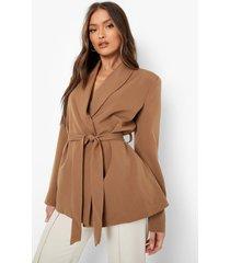 oversized getailleerde blazer met ceintuur, camel