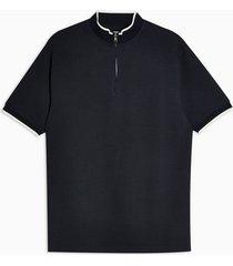 mens topman premium navy zip neck t-shirt