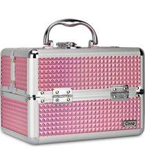 maleta de maquiagem cisne alumínio reforçada 4 bandejas rosa - kanui