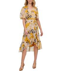 calvin klein floral-print crinkle-chiffon midi dress