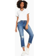 style & co petite ripped cuffed jeans, created for macy's