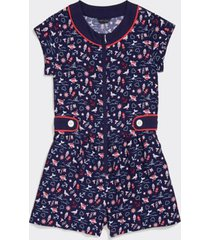 tommy hilfiger girl's adaptive printed romper evening blue/ multi - 12
