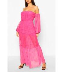 bardot teired long sleeve maxi dress, pink