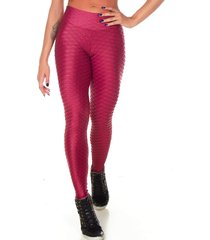 calça fitness legging dily modas alto relevo cirrê bordo 509