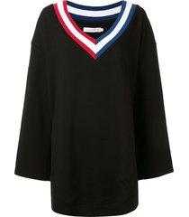 goodious oversized v-neck sweatshirt - black