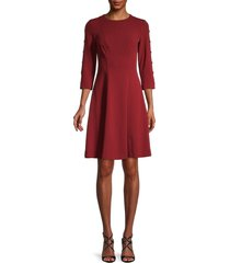 tommy hilfiger women's button-sleeve fit-&-flare dress - hickory - size 8